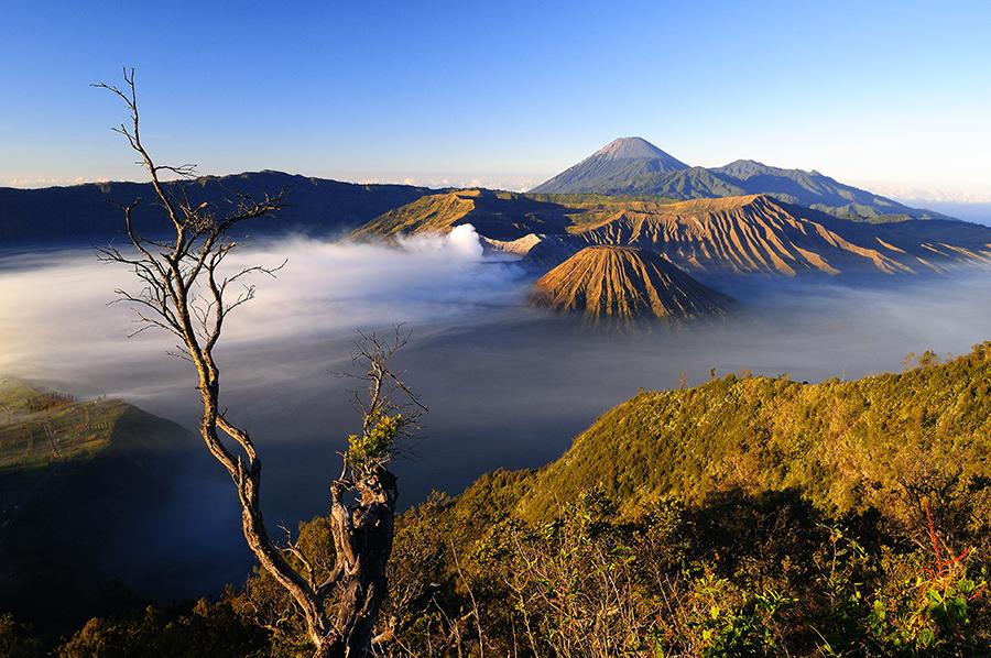 Magické ráno s výhledem na sopky Bromo, Batok a Semeru.