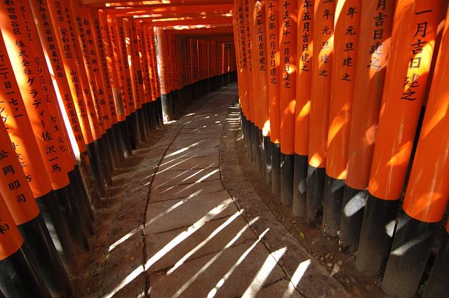 Několikakilometrová cesta tvořená bránami, torii, v areálu Fushimi Inari Shrine, nedaleko Kyota.
