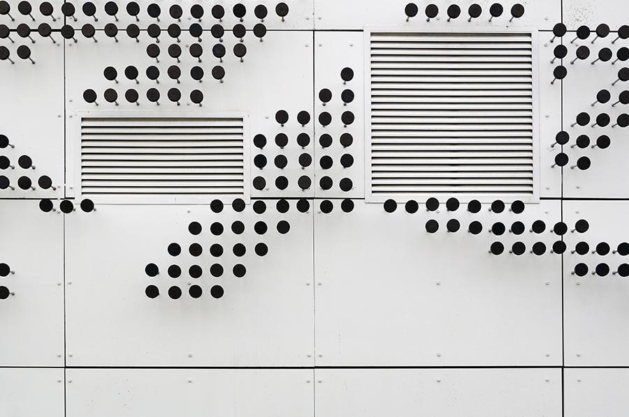 Detail fasády. Opravdu zajímavý nápad.