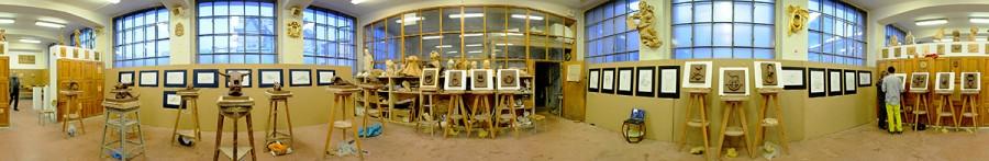 První pokusné panorama - 360° záběr v interiéru SUPŠ, na výstavě klauzurních prací.