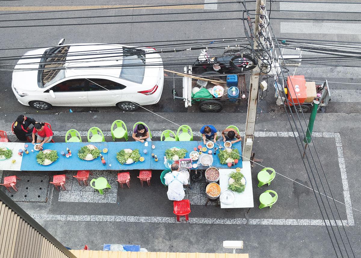 pouliční stánky s jídlem, Bangkok