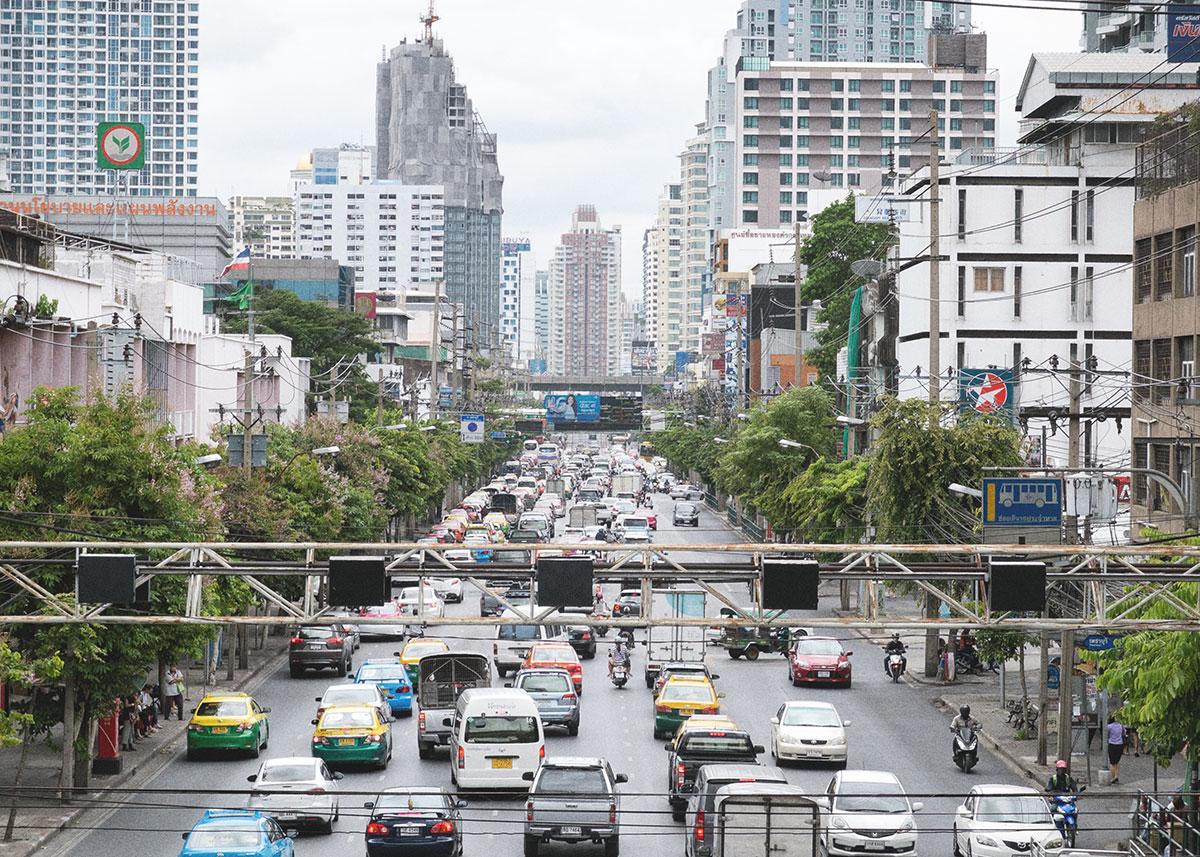 Bangkok, Thajsko - hustá doprava